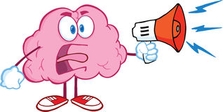 Ilskna Brain Character Screaming Into Megaphone Royaltyfria Bilder