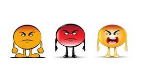 Ilskna Emojis stock illustrationer