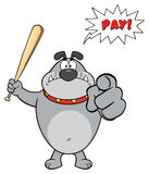 Ilskna Gray Bulldog Cartoon Mascot Character som rymmer ett slagträ och peka royaltyfri illustrationer