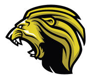 Ilskna Lion Head Mascot vektor illustrationer