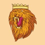 Ilskna Lion Mascot Gaming Logo stock illustrationer