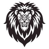 Ilskna Lion Roaring Logo Vector stock illustrationer