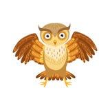 Ilskna Owl Cute Cartoon Character Emoji med Forest Bird Showing Human Emotions och uppförande Royaltyfri Bild