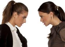 ilskna två kvinnor royaltyfri bild