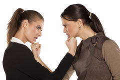 ilskna två kvinnor arkivfoto