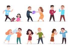 Ilskna ungar Dåliga pojkar och flickor som konfronterar och trakasserar mindre barn Dåliga tecken för uppförandeungevektor royaltyfri illustrationer