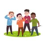 Ilskna ungar Dåliga pojkar som konfronterar och trakasserar mindre barnvektorillustration royaltyfri illustrationer