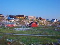 Ilulissat au crépuscule en été, Groenland. Photos libres de droits