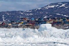 Ilulissat, Groenlandia, veduta dal mare Immagini Stock Libere da Diritti