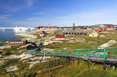 Ilulissat i stadens centrum sikt, Grönland Arkivbilder