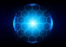 Iluminação azul abstrata com conexão do hexágono e da malha Imagens de Stock Royalty Free
