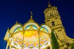 Iluminação bonita de Pochaev Lavra Fotos de Stock Royalty Free
