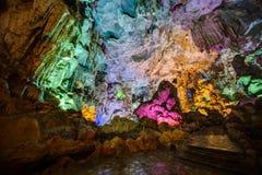 A iluminação colorida em Dau vai caverna na baía de Halong, Vietname foto de stock royalty free