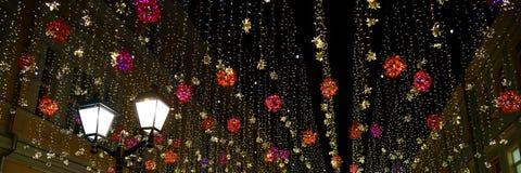 Iluminação da cidade da noite moscow Rússia fotografia de stock royalty free