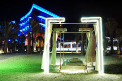 Iluminação da noite do hotel de luxo moderno Imagem de Stock Royalty Free