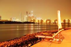 Iluminação da noite do hotel de luxo na palma Jumeirah Foto de Stock Royalty Free