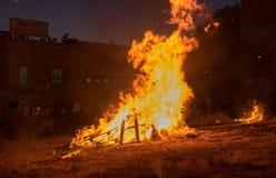Iluminação das fogueiras no feriado judaico da retardação Baomer Fotografia de Stock