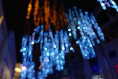 Iluminação de nivelamento na cidade da noite imagem de stock royalty free