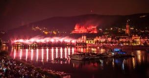 Iluminação do castelo de Heidelberg imagens de stock royalty free