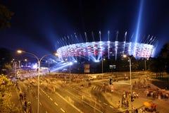 Iluminação do estádio nacional da fachada em Varsóvia, Polônia Imagens de Stock