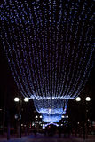 A iluminação do inverno ilumina-se em Gomel, Bielorrússia na noite fotos de stock