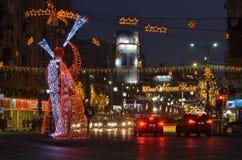Iluminação do Natal do aniversário em Bucareste Romana Square foto de stock