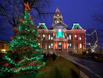 Iluminação do Natal de Cambridge Ohio imagens de stock