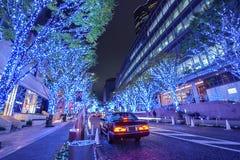 Iluminação do Natal de Roppongi Hills Keyakizaka imagem de stock