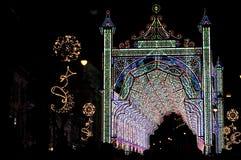 Iluminação do Natal na noite, Sibiu Imagem de Stock Royalty Free
