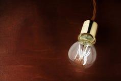 Iluminação econômica moderna do diodo emissor de luz Lâmpada do diodo emissor de luz em uma tabela de madeira imagem de stock
