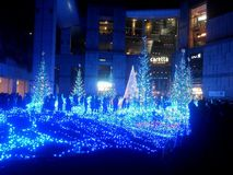 A iluminação espetacular do diodo emissor de luz do azul Imagens de Stock Royalty Free