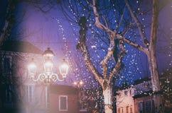 Iluminação festiva da noite nas árvores e nas lanternas na cidade, AG imagens de stock
