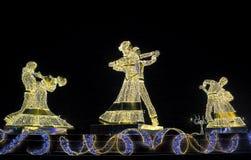 Iluminação festiva do ano novo e do Natal nas ruas do inverno de Moscou Fotografia de Stock