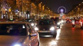 Iluminação na avenida de Champs-Elysees vídeos de arquivo