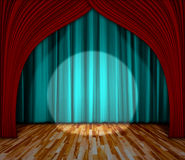 iluminação na fase cortina e fundo de madeira do interior do assoalho Imagem de Stock Royalty Free