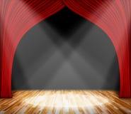 iluminação na fase cortina vermelha e fundo de madeira do interior do assoalho Imagens de Stock Royalty Free