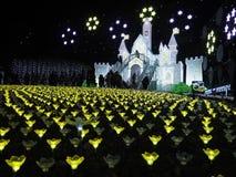 Iluminação sazonal no parque da flor de Ashikaga foto de stock