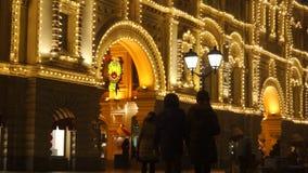 Iluminações do ano novo na construção filme