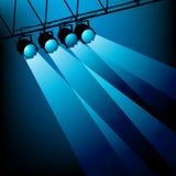 Iluminación azul de la etapa Imágenes de archivo libres de regalías