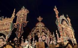 Iluminación de la Navidad (días de fiesta del Año Nuevo) en la noche, Moscú, Rusia Fotografía de archivo libre de regalías