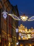 Iluminación de la Navidad de la calle Imágenes de archivo libres de regalías