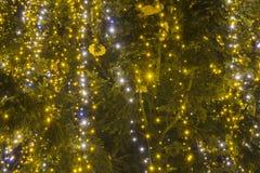 Iluminación de la Navidad en el árbol de navidad Primer misterio imagen de archivo