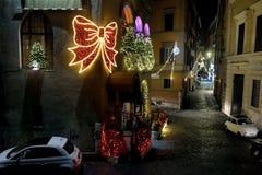 Iluminación de la Navidad en Roma Imagenes de archivo