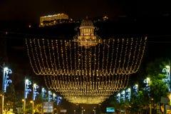 Iluminación de la Navidad en Sederot Ben Gurion en Haifa Imagen de archivo libre de regalías