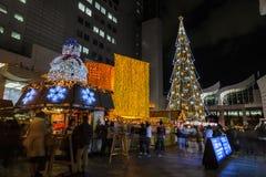Iluminación de la noche de la celebración 2016 de la Navidad en Osaka, Japón Fotografía de archivo libre de regalías