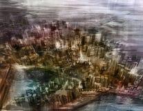 Iluminación de la noche de la ciudad del dibujo de la visión superior ilustración del vector