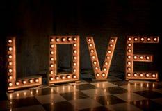Iluminación de la señalización del amor Fotos de archivo libres de regalías