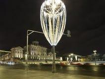Iluminación de los días de fiesta de la Navidad y del Año Nuevo en la noche, casa de Pashkov, Moscú, Rusia Imagen de archivo libre de regalías