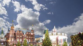 Iluminación de los días de fiesta de la Navidad y del Año Nuevo en la noche, el Kremlin en Moscú, Rusia Imágenes de archivo libres de regalías