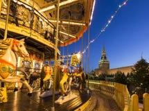 Iluminación de los días de fiesta de la Navidad y del Año Nuevo en la noche, Plaza Roja en Moscú, Rusia Foto de archivo libre de regalías